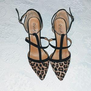 Qupid leopard print pointed heels